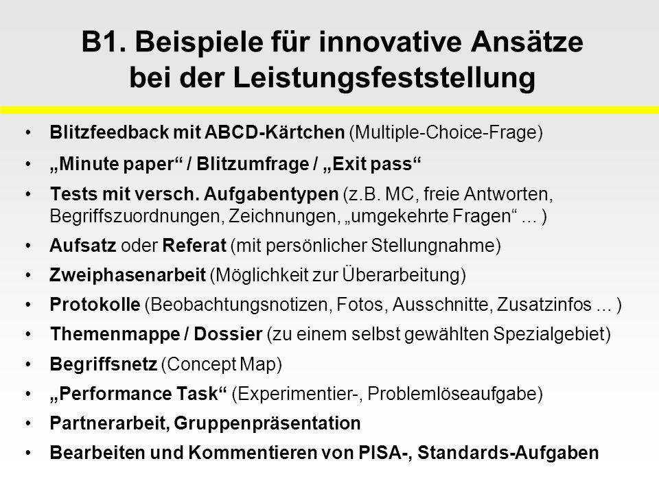 B1. Beispiele für innovative Ansätze bei der Leistungsfeststellung