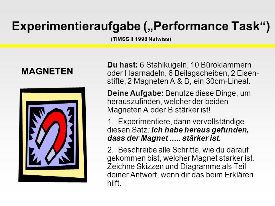 "Experimentieraufgabe (""Performance Task ) (TIMSS II 1998 Natwiss)"