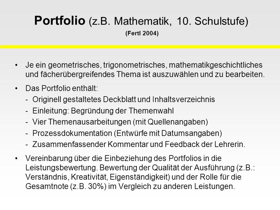 Portfolio (z.B. Mathematik, 10. Schulstufe) (Fertl 2004)