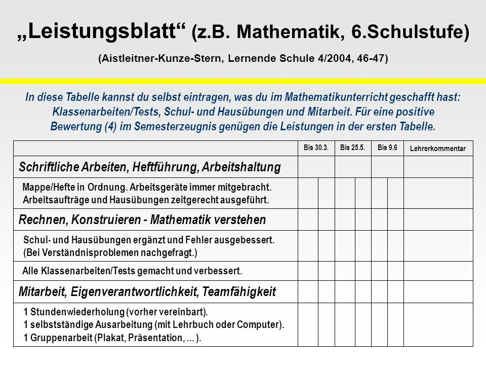"""Leistungsblatt (z. B. Mathematik, 6"