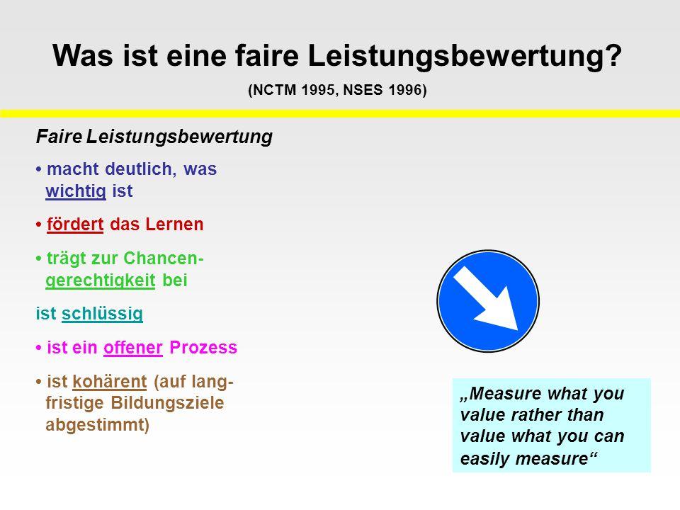 Was ist eine faire Leistungsbewertung (NCTM 1995, NSES 1996)