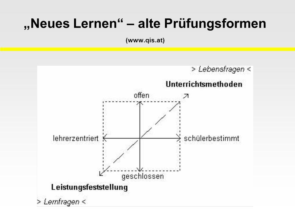 """""""Neues Lernen – alte Prüfungsformen (www.qis.at)"""