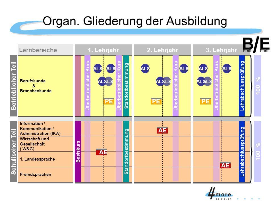 Organ. Gliederung der Ausbildung