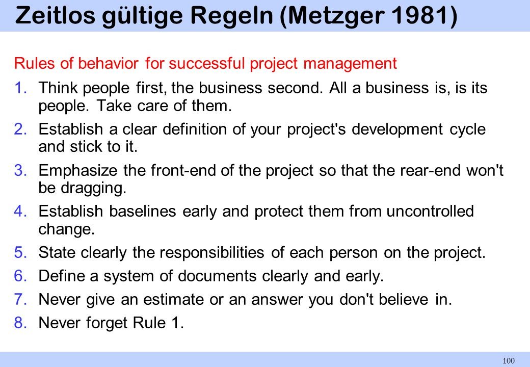 Zeitlos gültige Regeln (Metzger 1981)