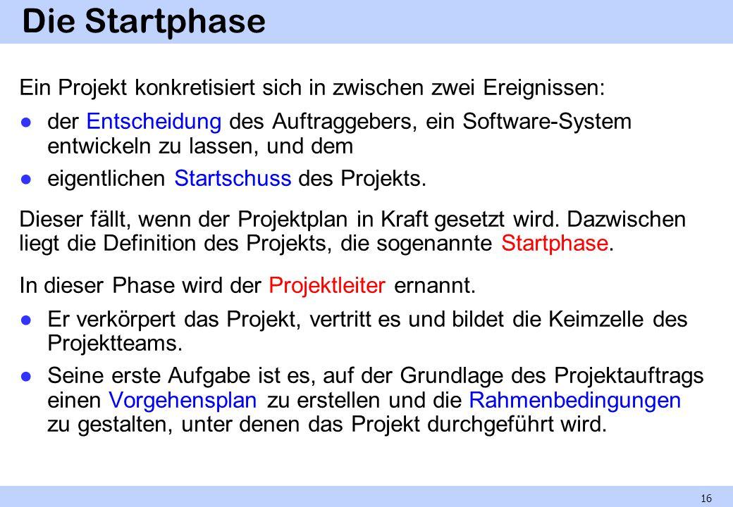 Die Startphase Ein Projekt konkretisiert sich in zwischen zwei Ereignissen: