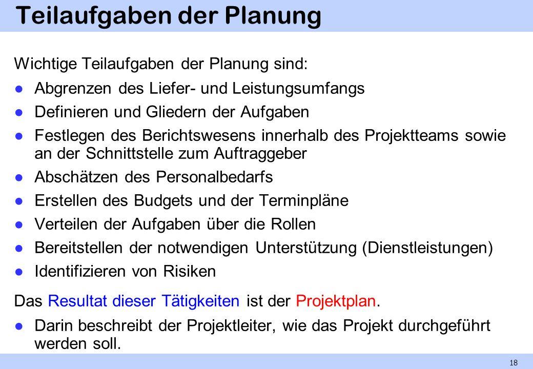 Teilaufgaben der Planung