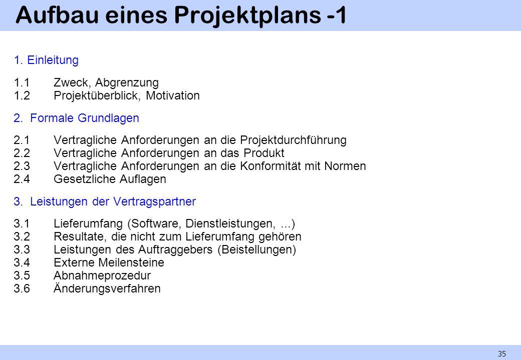 Aufbau eines Projektplans -1