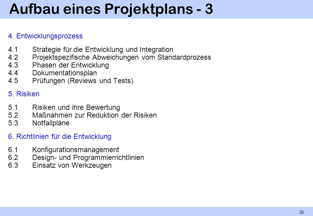 Aufbau eines Projektplans - 3