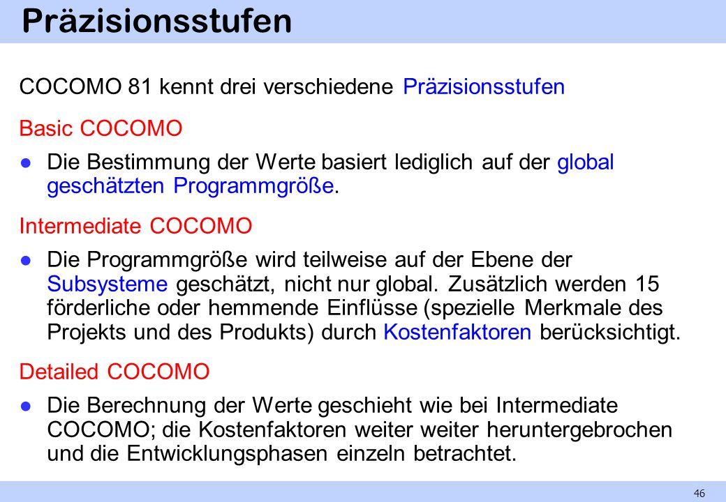 Präzisionsstufen COCOMO 81 kennt drei verschiedene Präzisionsstufen