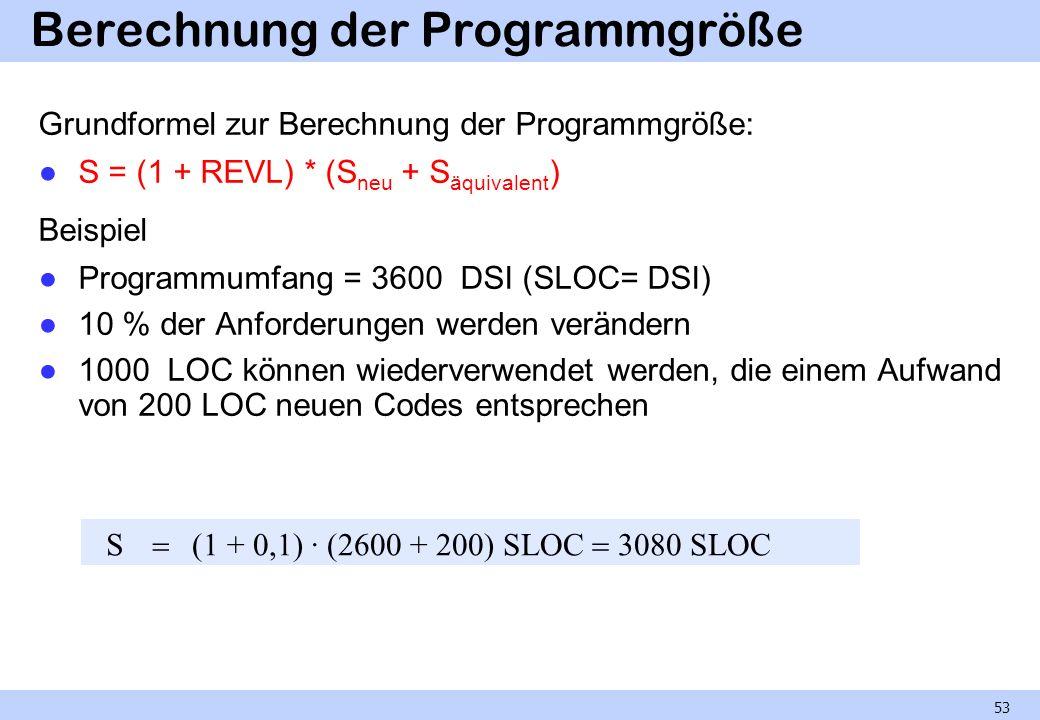 Berechnung der Programmgröße