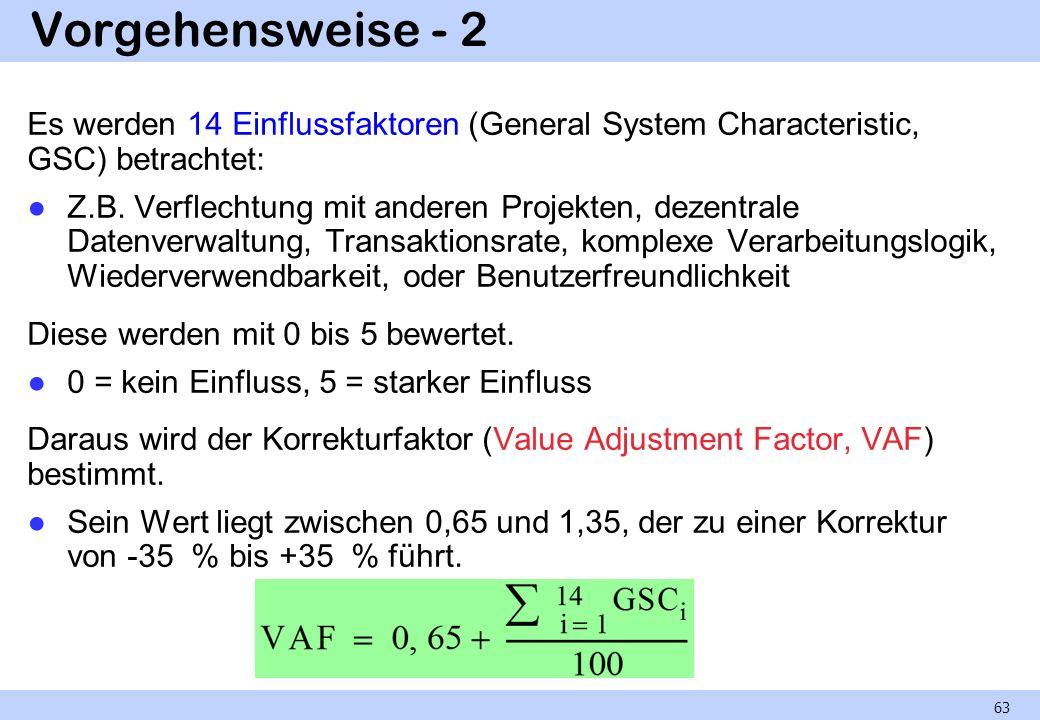 Vorgehensweise - 2 Es werden 14 Einflussfaktoren (General System Characteristic, GSC) betrachtet: