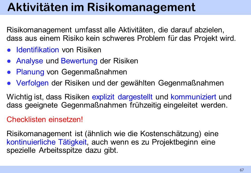 Aktivitäten im Risikomanagement