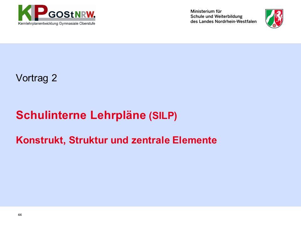 Vortrag 2 Schulinterne Lehrpläne (SILP) Konstrukt, Struktur und zentrale Elemente