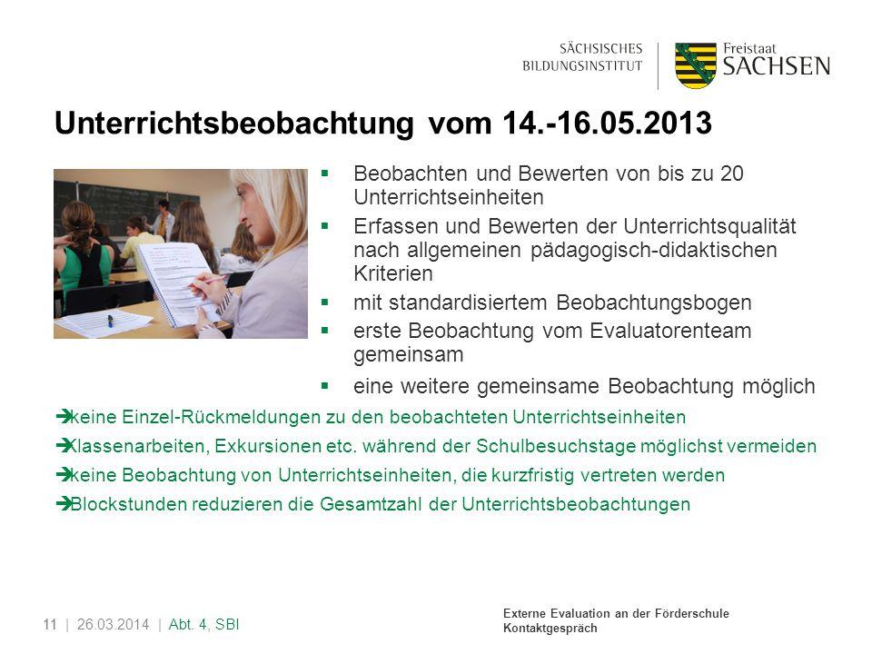 Unterrichtsbeobachtung vom 14.-16.05.2013