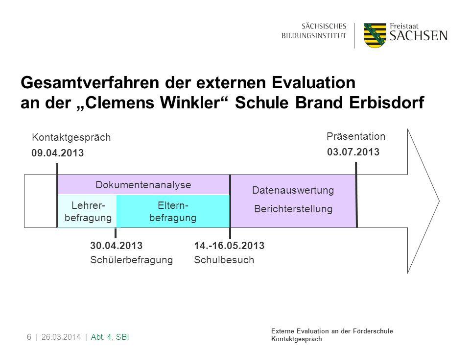 """Gesamtverfahren der externen Evaluation an der """"Clemens Winkler Schule Brand Erbisdorf"""