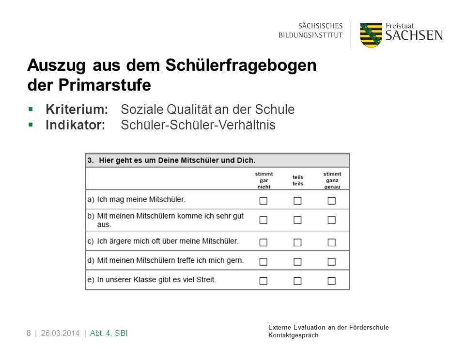 Auszug aus dem Schülerfragebogen der Primarstufe