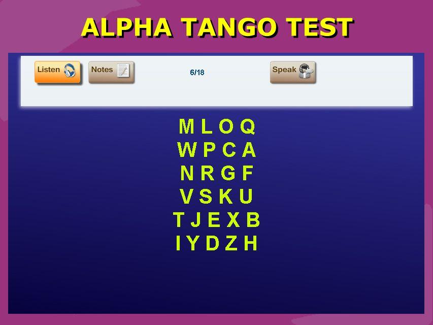 ALPHA TANGO TEST