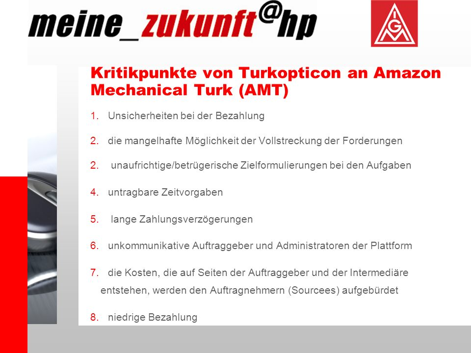 Kritikpunkte von Turkopticon an Amazon Mechanical Turk (AMT)