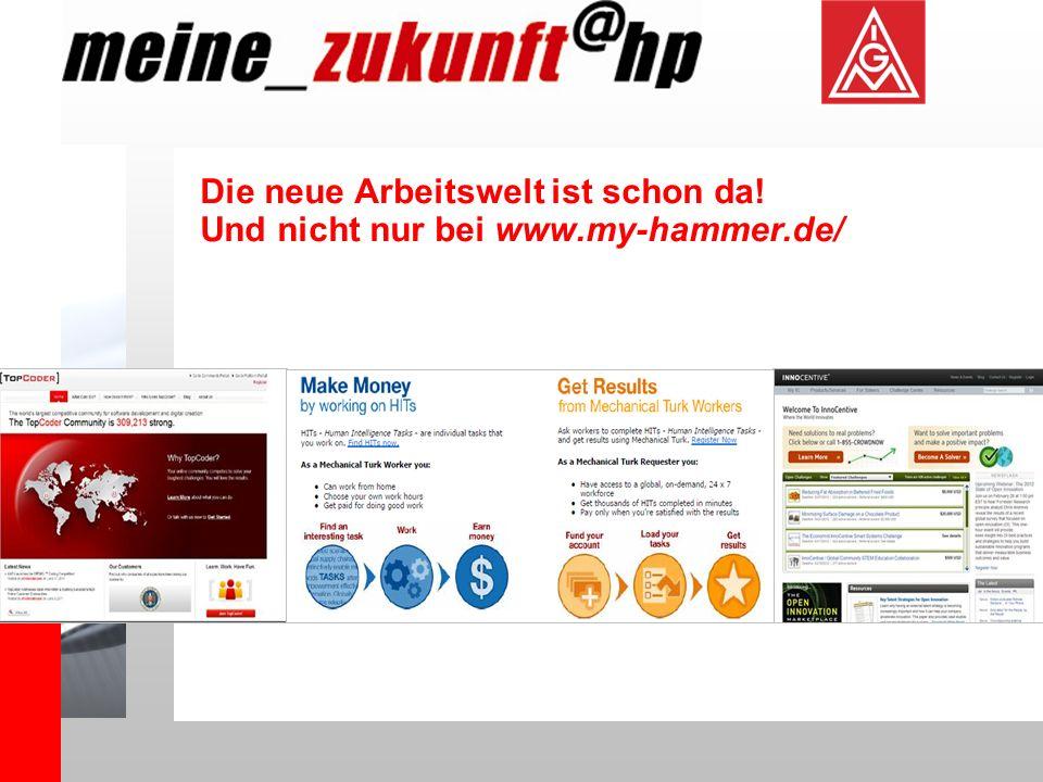 Die neue Arbeitswelt ist schon da! Und nicht nur bei www.my-hammer.de/