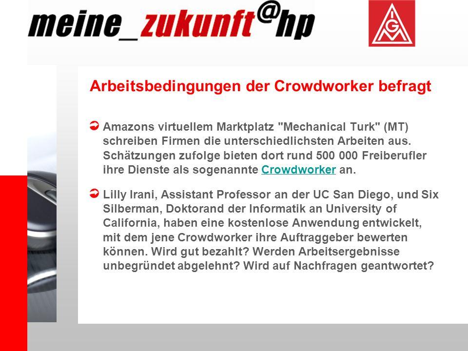 Arbeitsbedingungen der Crowdworker befragt