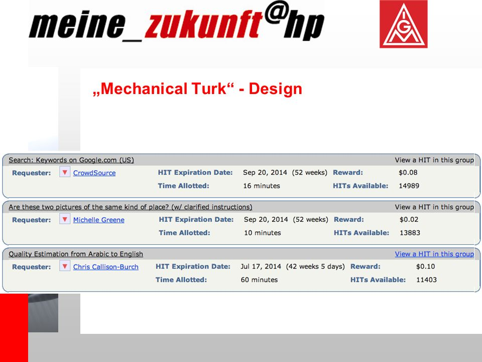 """Mechanical Turk - Design"