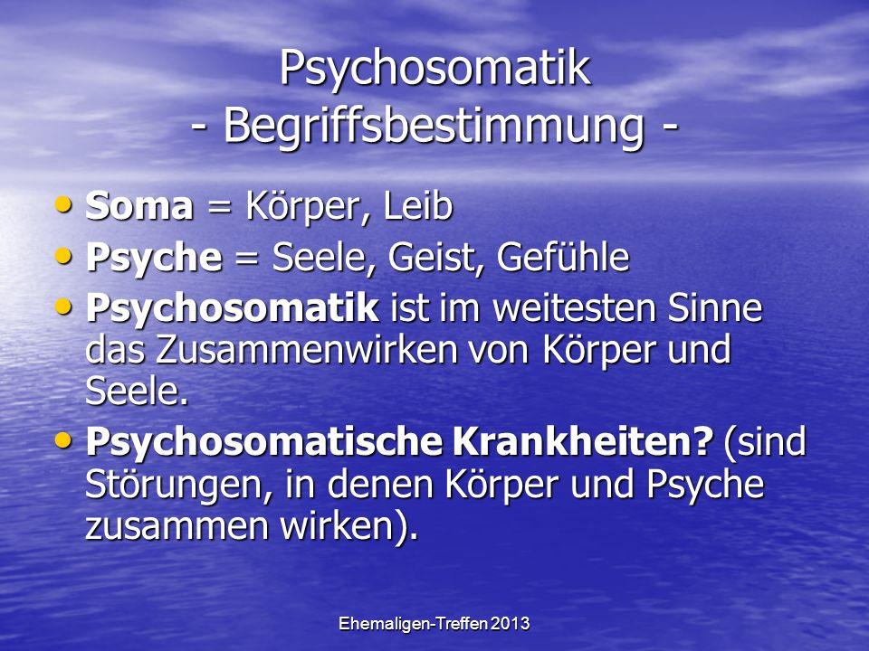 Psychosomatik - Begriffsbestimmung -