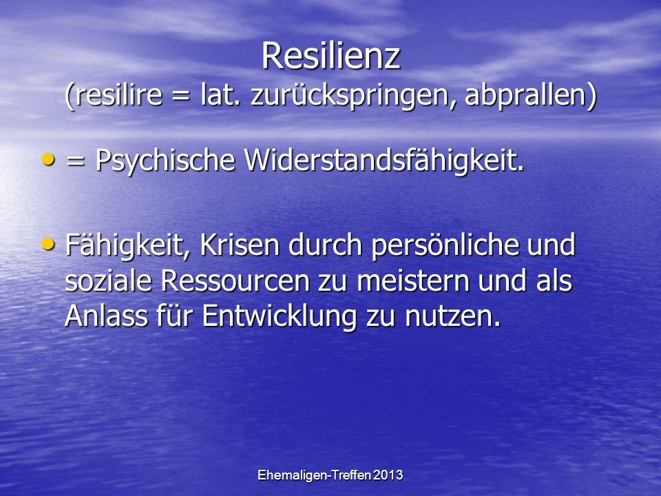 Resilienz (resilire = lat. zurückspringen, abprallen)