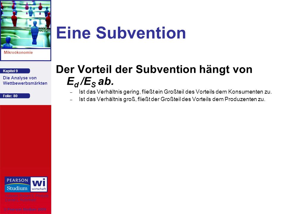 Eine Subvention Der Vorteil der Subvention hängt von Ed /ES ab.