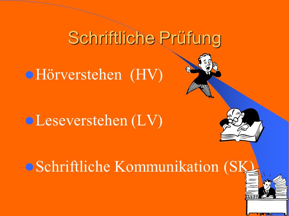 Schriftliche Prüfung Hörverstehen (HV) Leseverstehen (LV)
