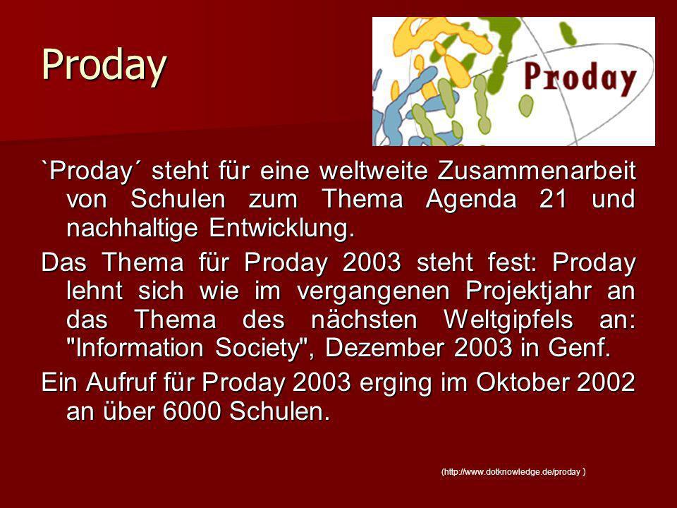 Proday `Proday´ steht für eine weltweite Zusammenarbeit von Schulen zum Thema Agenda 21 und nachhaltige Entwicklung.