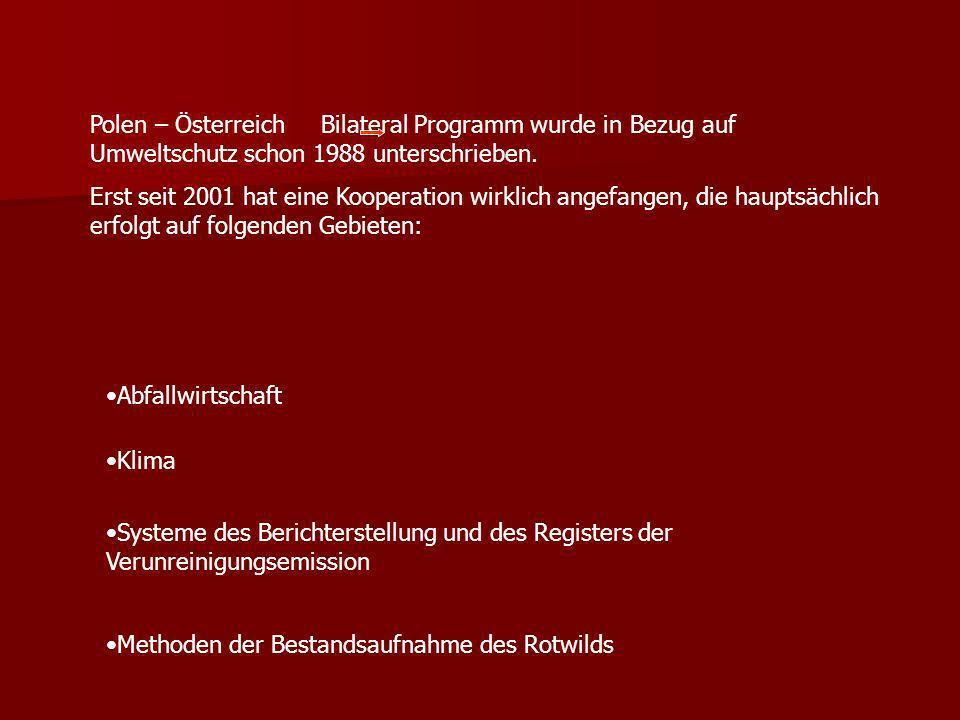 Polen – Österreich Bilateral Programm wurde in Bezug auf Umweltschutz schon 1988 unterschrieben.