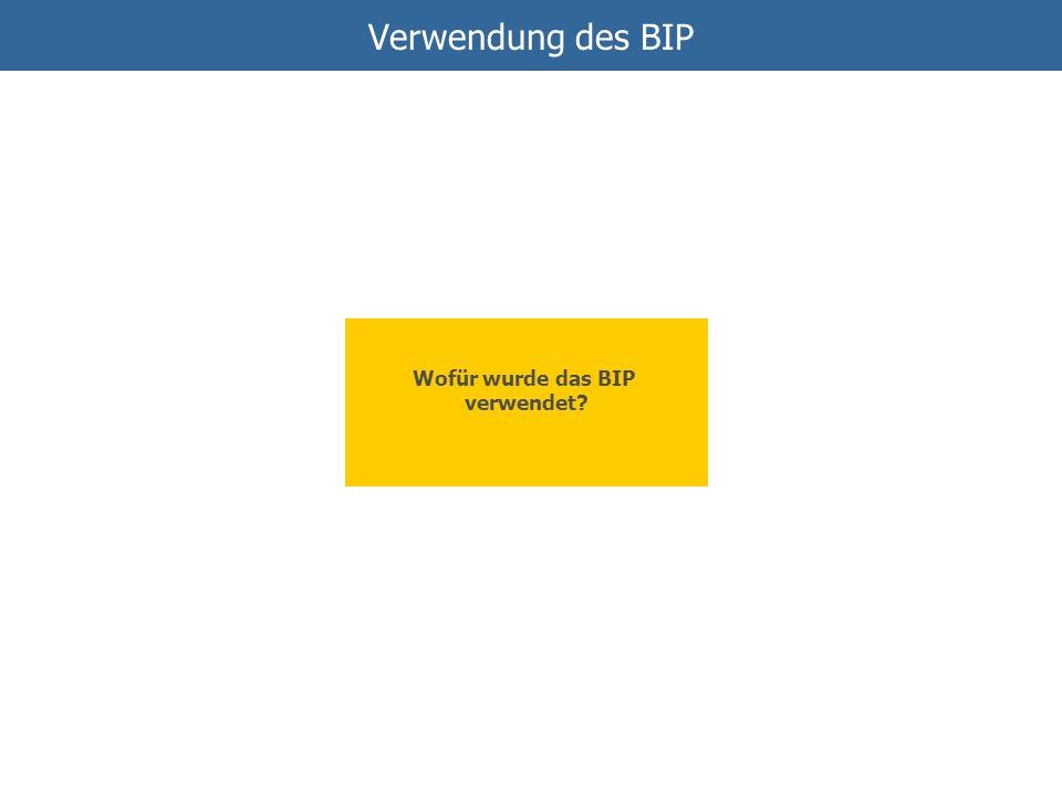 Verwendung des BIP Wofür wurde das BIP verwendet