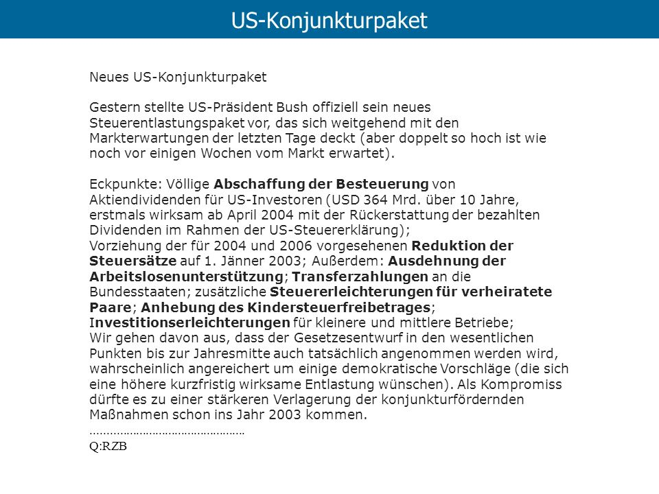 US-Konjunkturpaket Neues US-Konjunkturpaket