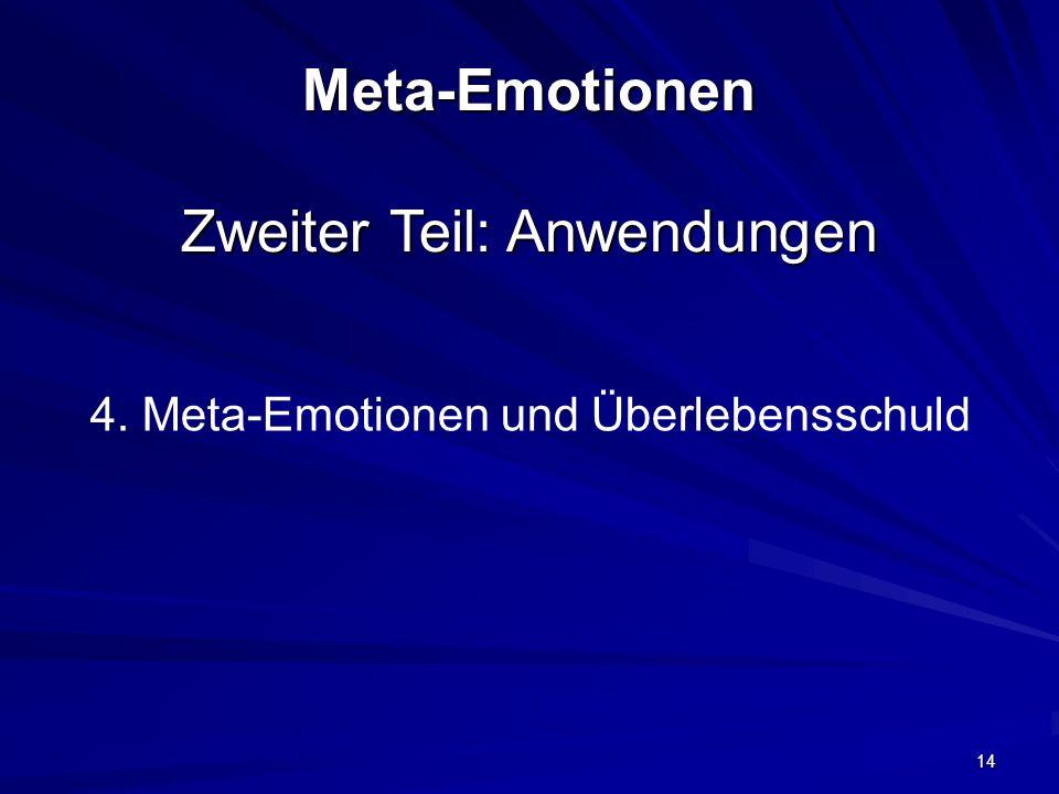 Meta-Emotionen Zweiter Teil: Anwendungen