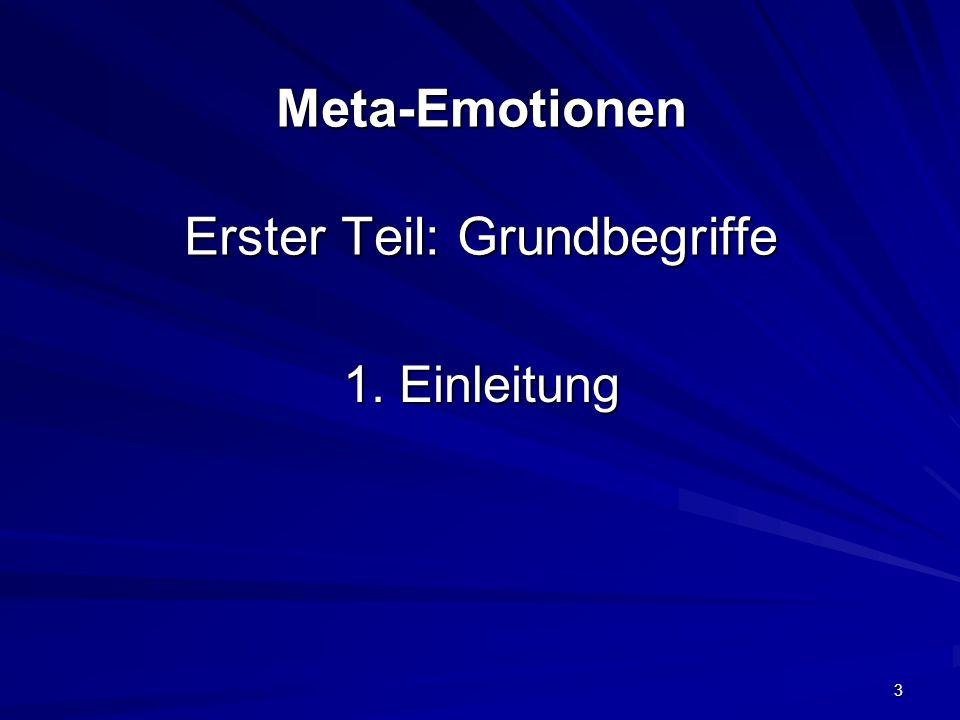 Meta-Emotionen Erster Teil: Grundbegriffe