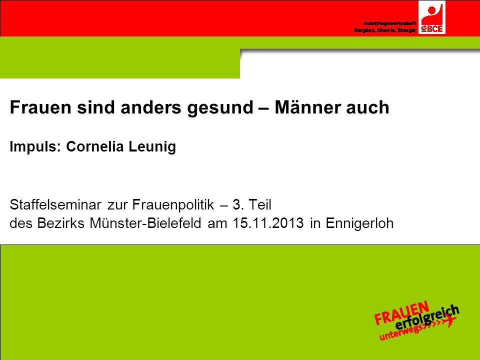 Frauen sind anders gesund – Männer auch Impuls: Cornelia Leunig Staffelseminar zur Frauenpolitik – 3. Teil des Bezirks Münster-Bielefeld am 15.11.2013 in Ennigerloh