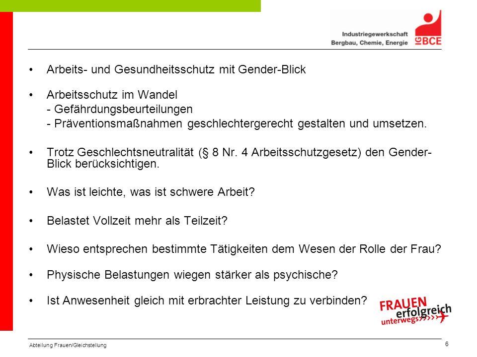Arbeits- und Gesundheitsschutz mit Gender-Blick