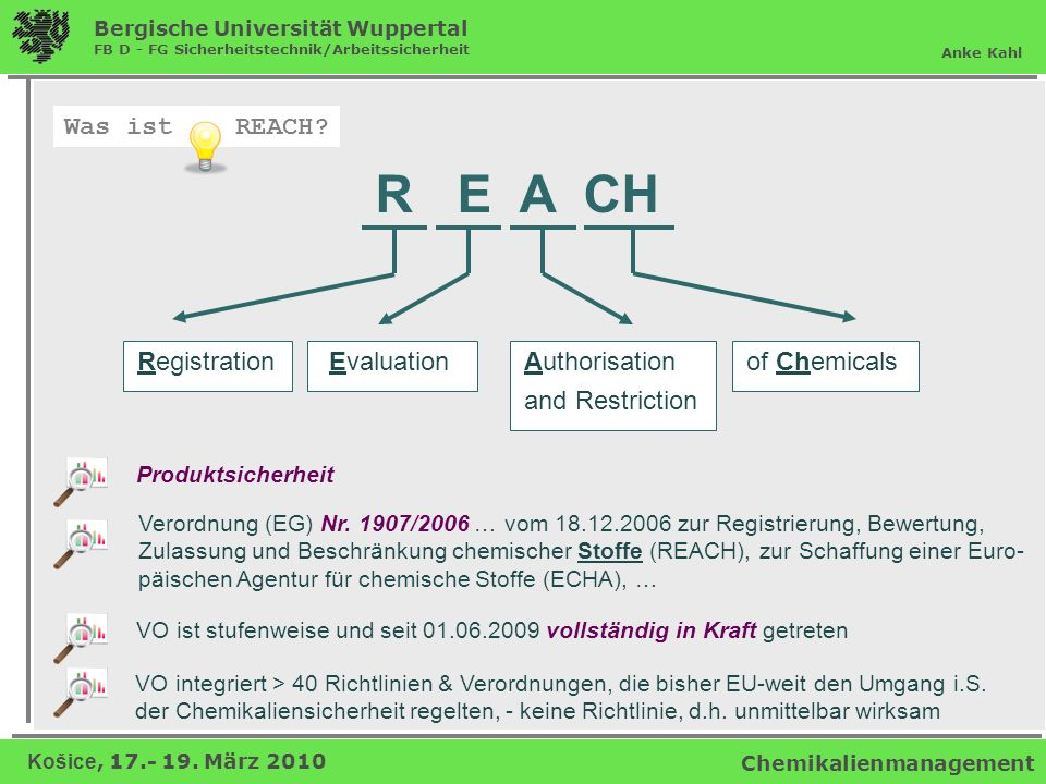 Was ist REACH R E A CH Registration Evaluation Authorisation