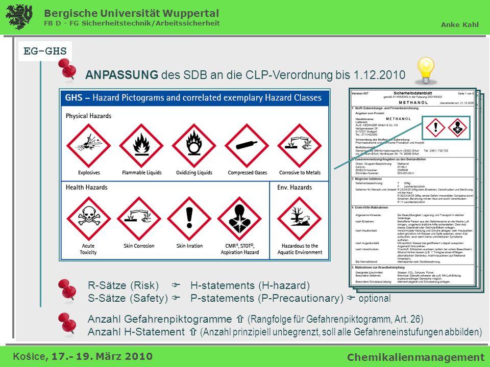 EG-GHS ANPASSUNG des SDB an die CLP-Verordnung bis 1.12.2010