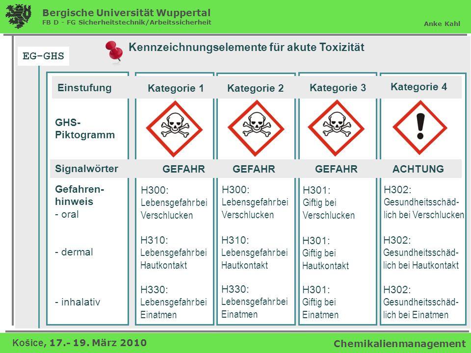 EG-GHS Kennzeichnungselemente für akute Toxizität Einstufung