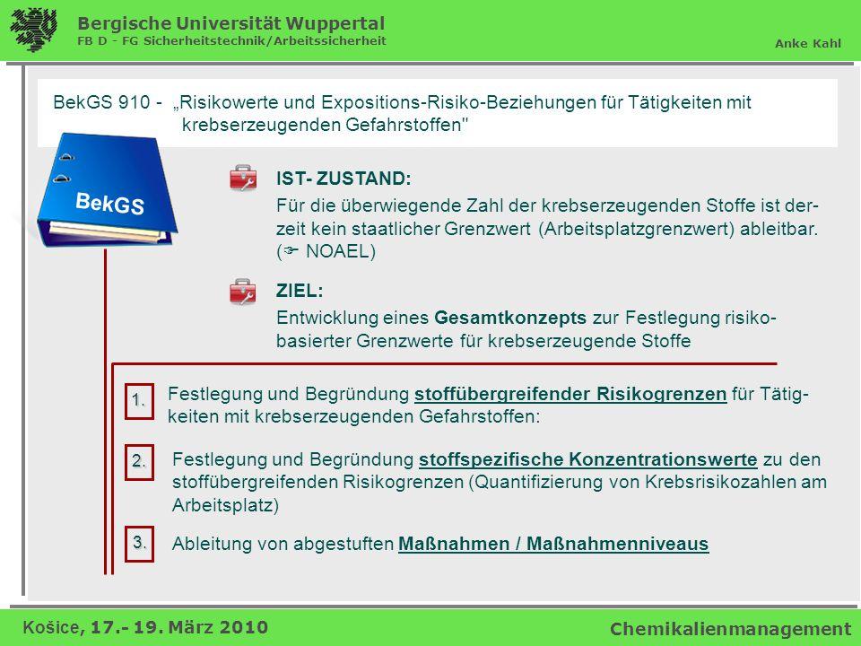 """BekGS 910 - """"Risikowerte und Expositions-Risiko-Beziehungen für Tätigkeiten mit"""