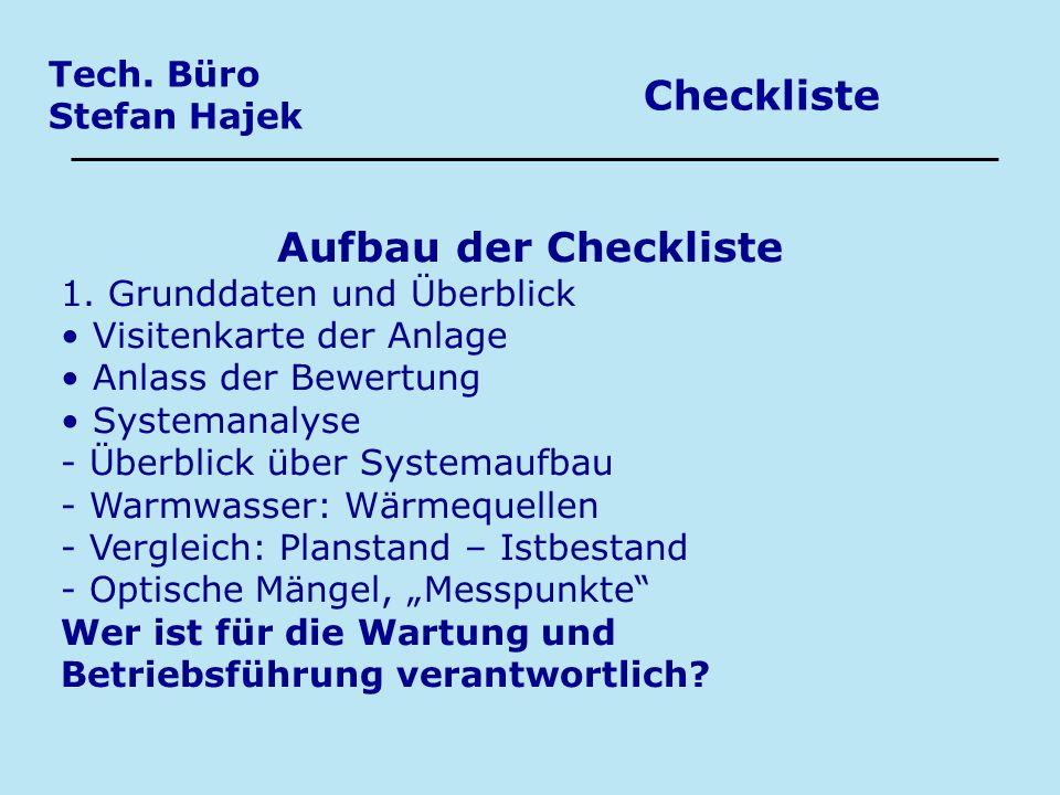 Checkliste Aufbau der Checkliste