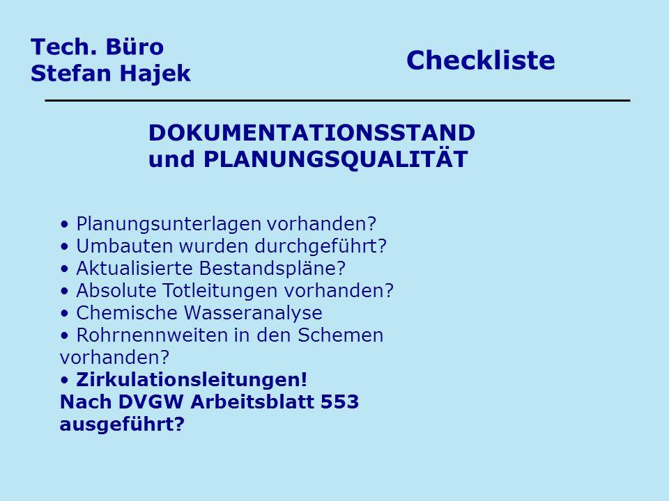 Checkliste Tech. Büro Stefan Hajek DOKUMENTATIONSSTAND
