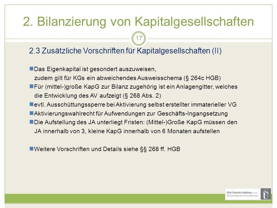 2. Bilanzierung von Kapitalgesellschaften