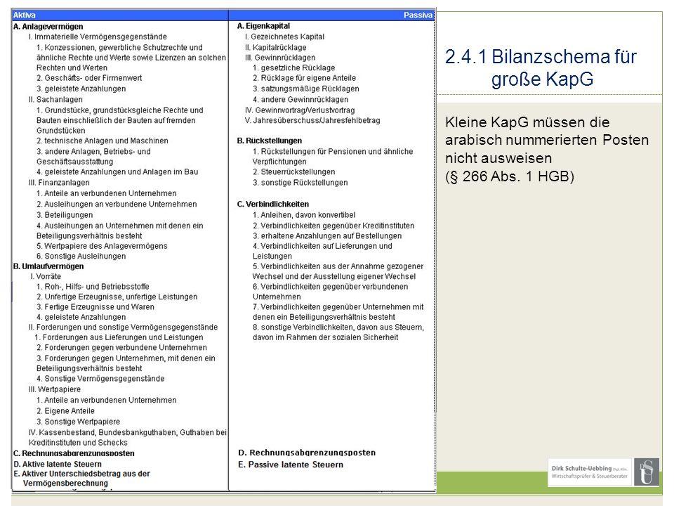 2.4.1 Bilanzschema für große KapG