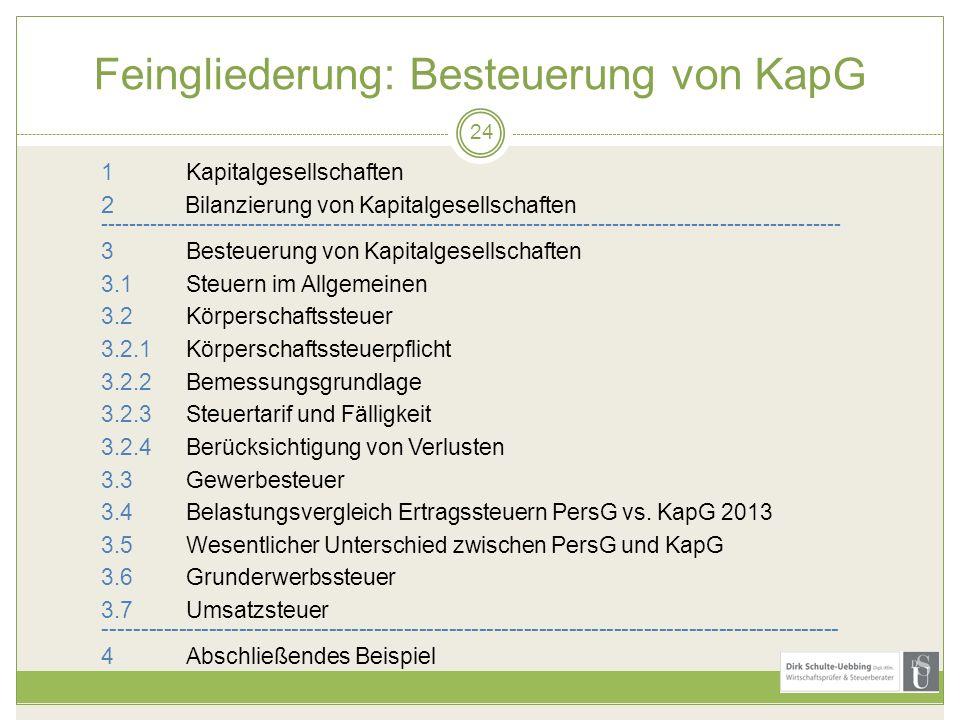 Feingliederung: Besteuerung von KapG