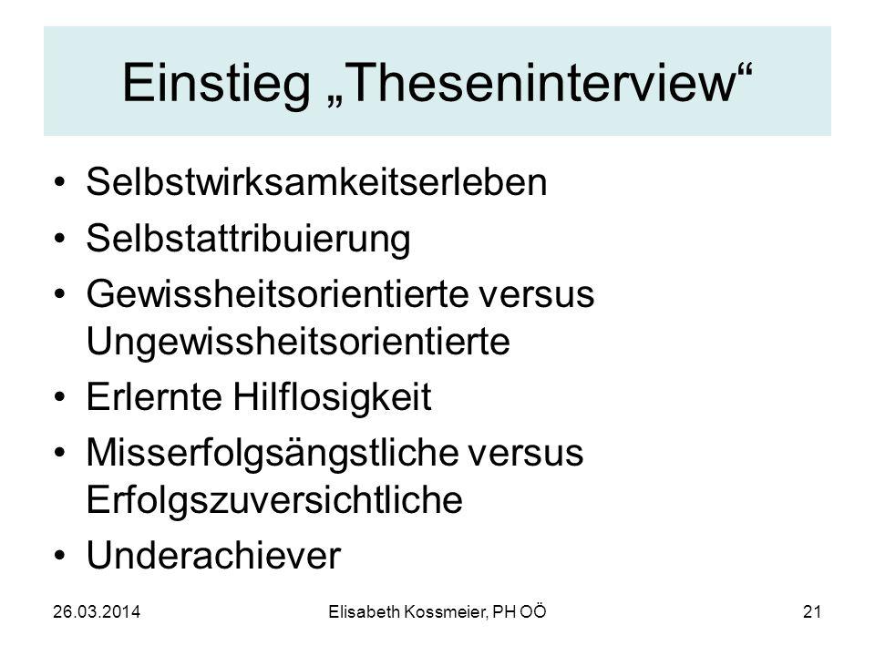 """Einstieg """"Theseninterview"""