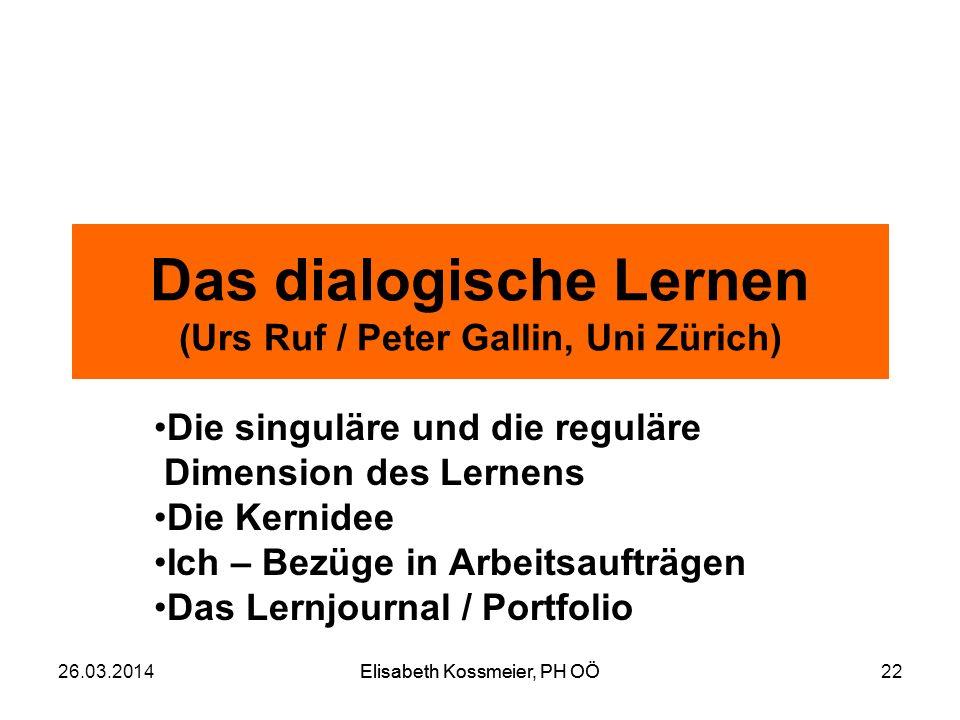Das dialogische Lernen (Urs Ruf / Peter Gallin, Uni Zürich)