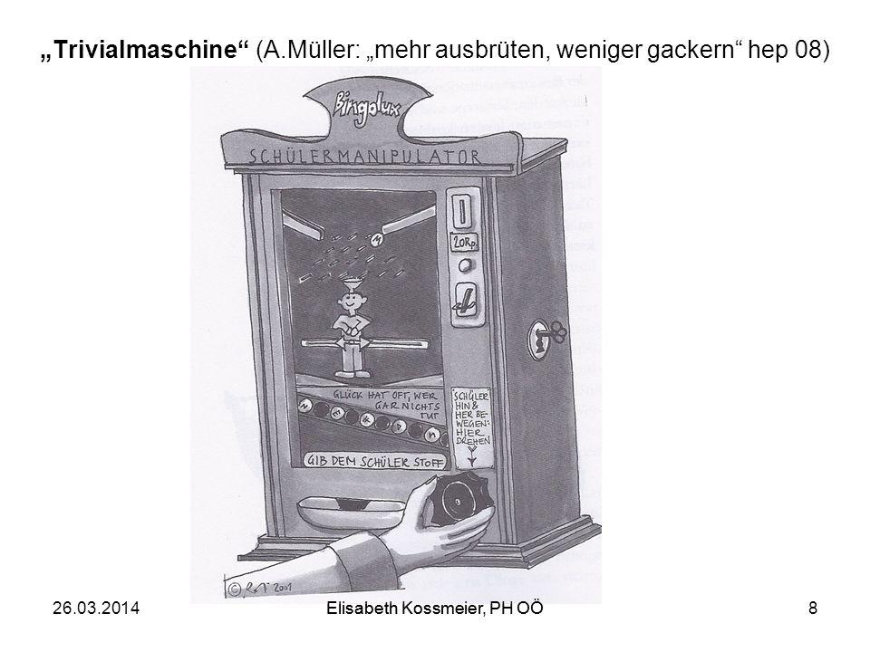 """""""Trivialmaschine (A.Müller: """"mehr ausbrüten, weniger gackern hep 08)"""