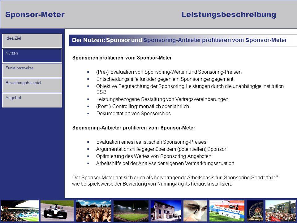 Der Nutzen: Sponsor und Sponsoring-Anbieter profitieren vom Sponsor-Meter